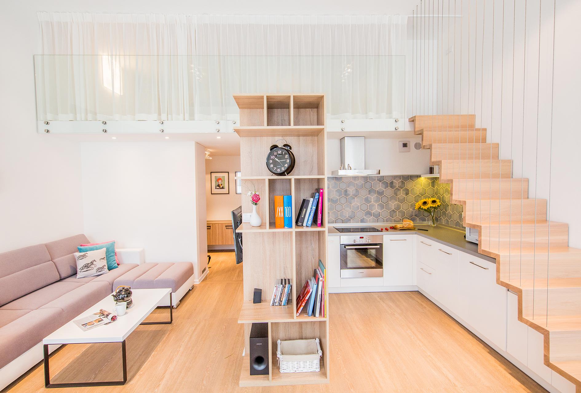 salon, antresola, apartament kokos, projekt wnętrz, architekt wrocław, kore, julia koczur 01