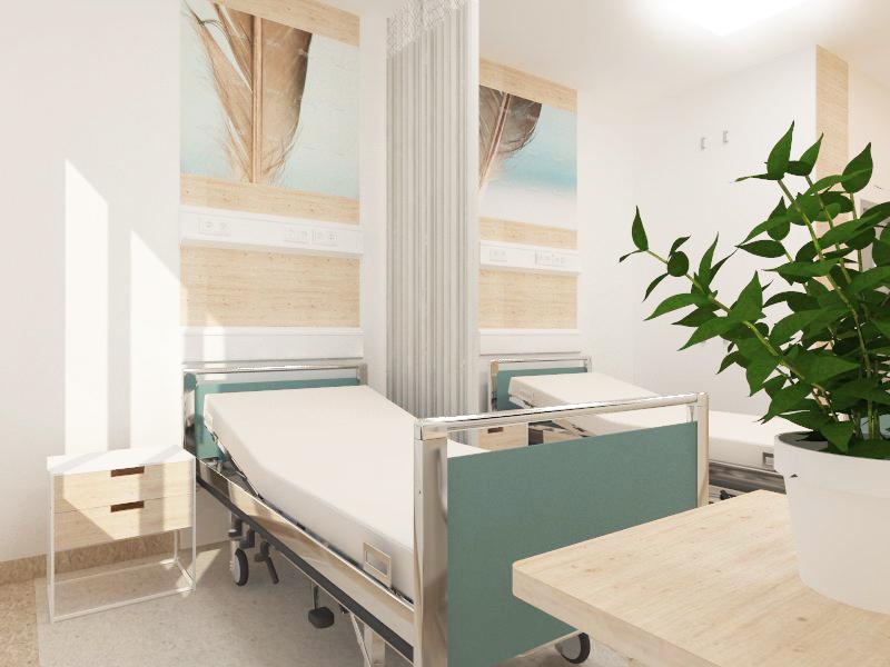 Breast Unit pokój łóżkowy, Dolnośląskie Centrum Onkologii, Wrocław, architektura medyczna, projekt szpitala, koru, julia Koczur, architekt 01.jpg